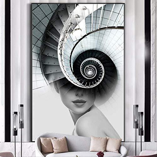 LWJZQT canvas prints Abstract Figuur Nordic Poster Wall Art Canvas Schilderij Foto's Spiraal Trap Voor Woonkamer Print Meisjes Vrouwen Beeld Oningelijst