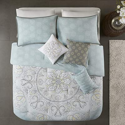 "Madison Park Lucinda 7 Piece Reversible Cotton Sateen Comforter Set for Bedroom, King(104""x92""), Medallion Seafoam"