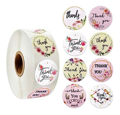Rollo de pegatinas de agradecimiento, 1 pulgada, 500 piezas de pegatinas de agradecimiento para bodas graduación cumpleaños celebraciones familiares bolsas de regalos sobres sobres burbujas embalaje