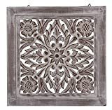 DharmaObjects Handcrafted Lotus Wood Wall Panel Decor Hanging Art 16' X 16' (White)