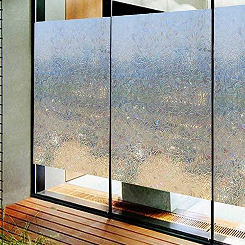 Pellicola per finestra effetto arcobaleno 3D, adesivo elettrostatico non adesivo privacy e protezione UV vetro adesivo, casa ufficio C 60x300cm