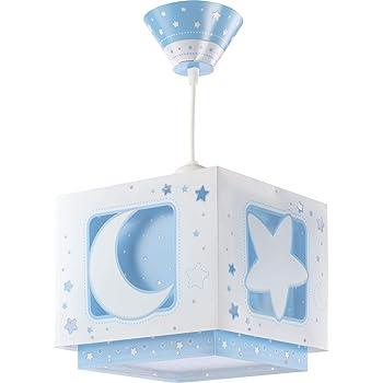 """Dalber 63232T Lampadario""""Luna"""", per bambini, Colore Blu, lampadina a incandescenza, plastica"""