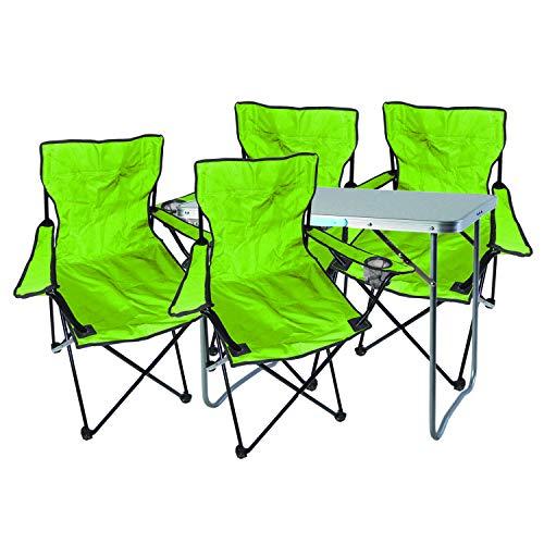 Mojawo 5tlg. Campingmöbel Set Alu 80x60x68cm 1x XL Campingtisch mit Tragegriff + 4 Anglerstühle, Faltstühle Campingstühle limegrün