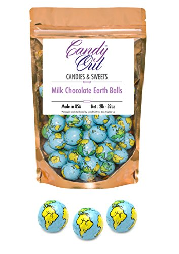 CandyOut Chocolate Earth Balls 2 Pound - Foil Wrapped Chocolate Candy in Sealed Bag