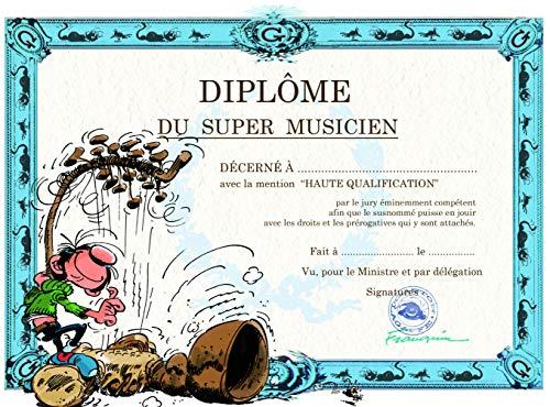 Gaston Lagaffe dubbele kaart met envelop Diplom van de Super Musico – Harpe Instrument houten snaren muziek muzikanten
