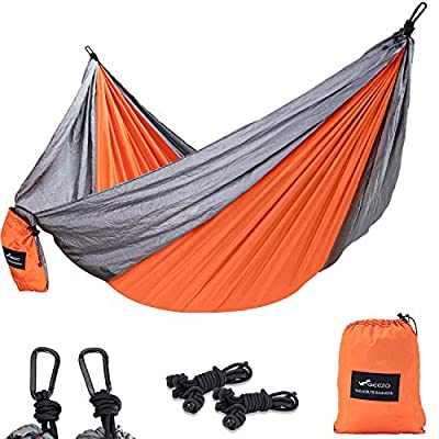 GEEZO Camping Hammock Single Portable Tree Hammocks with 2 Hanging Rope/Lightweight Nylon Parachute Hammocks for Outdoor or Indoor Backpacking/Travel/Beach/Hiking