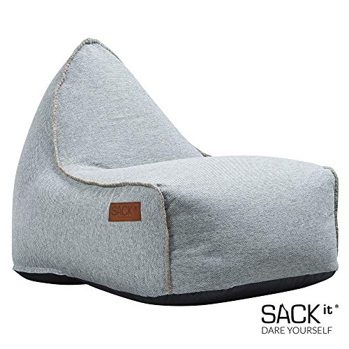 SACKit - RETROit Cobana - Outdoor/Indoor Sitzsack & Sessel mit Lehne - Perfekt für die Lounge, draußen im Garten oder Balkon - Kombinierbar mit einem Hocker - Dänisches Design - Sand Melange