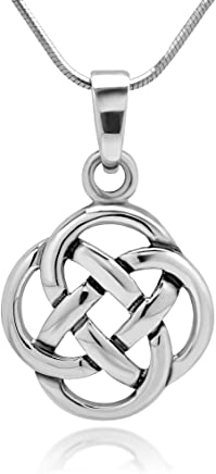Chuvora 925 Sterling Silver Celtic Knot Five Fold Pattern Round Pendant Necklace, 18 inches