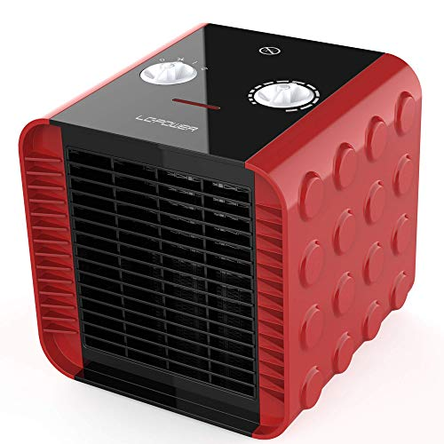 Space Heater for Indoor Use,LCPOWER Electric Ceramic Heater Fan with Thermostat,Overheat and Tip-Over Protection,ETL Certified PTC Fasting Heating for Office Room Bedroom Floor(Red,1500W 750W)