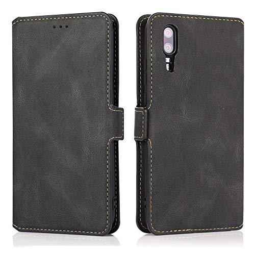 MOONCASE Capa para celular Huawei P20 Pro, capa carteira magnética flip de couro com bolso para cartão e suporte dobrável capa protetora para Huawei P20 Pro 6,1 polegadas - preta