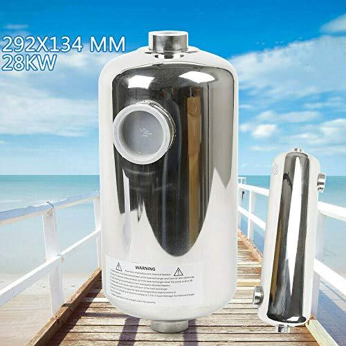 sujrtuj - Scambiatore di calore per piscina, in acciaio INOX, 28 kW/60 KW, per riscaldamento sauna (28 KW)
