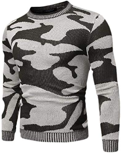 BKWL Mens Camo Print Slim Fit Round Neck Knitted Fashion Pullover Sweater,1,X-Small