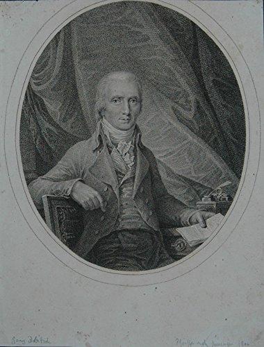 Portrait. Halbfigur an einem Schreibtisch, Hintergrund mit Vorhang. Punktierkupferstich von Pfeiffer nach Kinninger. Abzug vor der Schrift und vor dem Stechernamen.