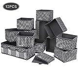 DIMJ 12 Stück Aufbewahrungsbox Organizer faltbar Unterwäsche Socken Stoff Organizer für Schubladen Schrank Tische Ordnungssystem (12 Stück)