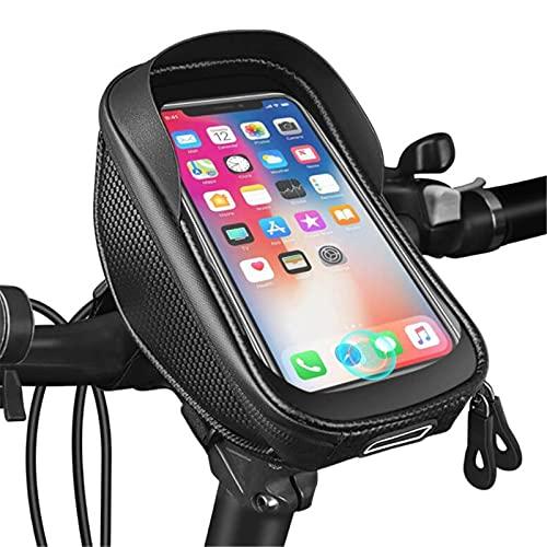 GHJGTL Tenedor De Teléfono Móvil De Bicicleta, Impermeable Teléfono Móvil De 7 Pulgadas Tenedor De Teléfono Móvil A Prueba De Choques, Accesorios para Montar En Bicicleta,Negro