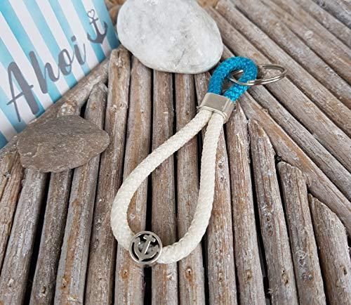 Schlüsselanhänger Segelseil - Kletterseil, Schlüsselband, Glaube Liebe Hoffnung Anker maritim segelseil, handmade, Taschenbaumler, petrol, creme