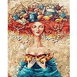 Guume Sombrero mágico Fotos Pintura al óleo por números Kits de Pintura acrílica Dibujo sobre Lienzo Arte Pintado a Mano decoración de Regalo de su hogar40 * 50cm sin Marco
