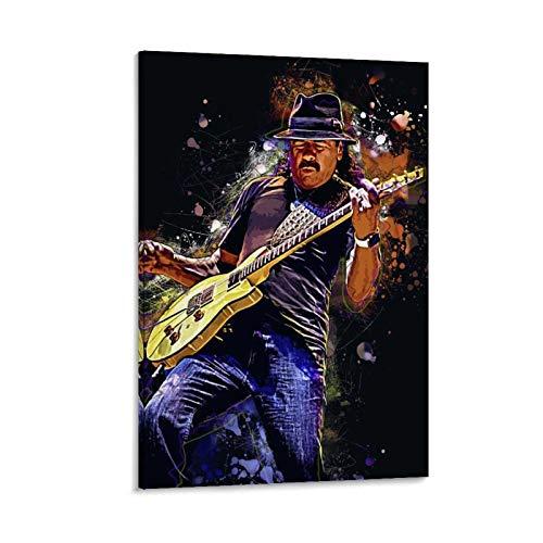gaozhen Póster de Carlos Santana con diseño de la guitarra, 30 x 45 cm