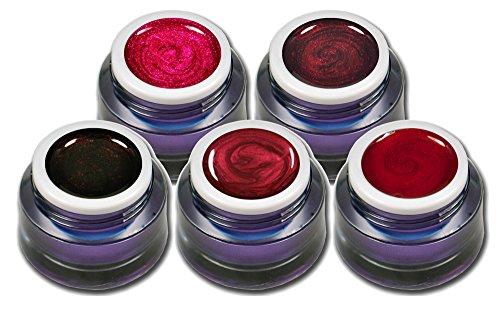 Farbgel Set Rot Metallic und Glitter Premium Gele Colorgel Nagelgel für Nageldesign 5er Pack (5 x 5ml)