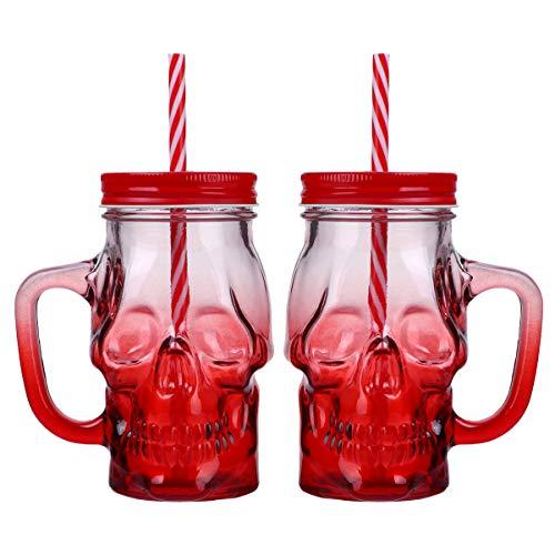 LUOEM Halloween Bierkrug Skelett Schädel Biergläser Tasse Totenkopf Kaffeetasse Trinkglas mit Deckel und Strohhalm für Halloween Karneval Party Geschenke Tischdeko Rot 500ML 2 Stück