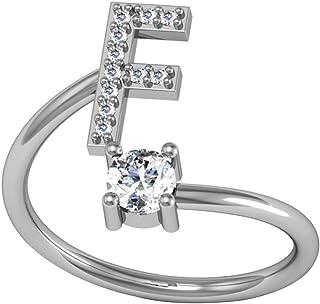 Guangcailun Apertura regolabile Alphabet 3D Wrap ragazza delle donne Anello strass gioielli accessori per la casa, F