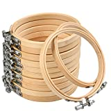 12 Pieces 4 Inch Wooden Round Embroidery Hoops Adjustable Bamboo Circle Cross Stitch Hoop Ring Bulk Wholesale for Home Ornaments, Art Craft Handy Sewing