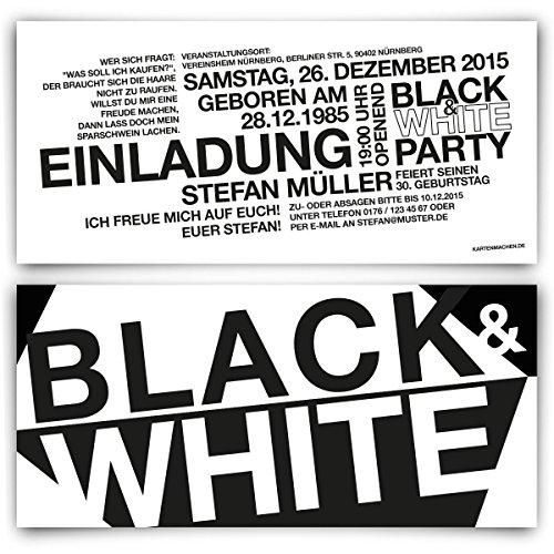 Einladungen (40 Stück) zum Geburtstag - Schwarz Weiß / Black & White - Party Einladungskarten