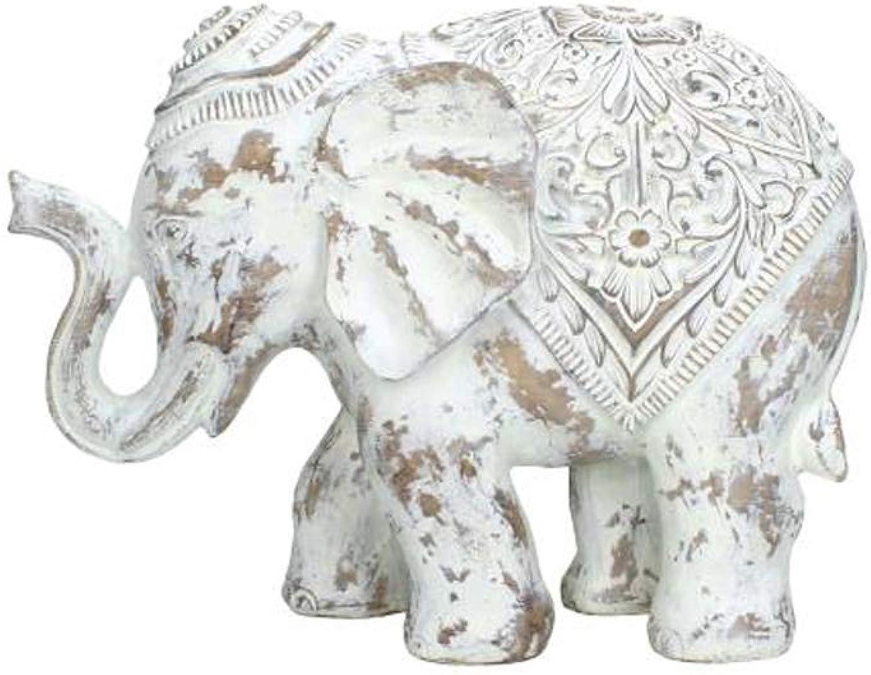 precios mas baratos Kersten Bonito Elefante Grande con con con Adornos en Estilo rústico; Figura Decorativa de polirresina blancoa, 31x14x23cm  garantía de crédito