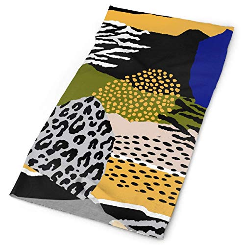 Zome Lag Pañuelo para Manos,Calentador De Cuello,Diademas,Leopard Tiger Zebra Print Bufanda De Tubo A Prueba De Polvo,Sombreros Deportivos,Cubierta Facial A Prueba De Viento