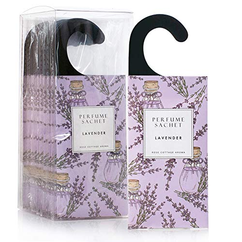 Rose Cottage 12Packs Lavender Closet Air Freshener Deodorizer Scented Sachets Bags for Drawers and Closets,Sachets for Weddings