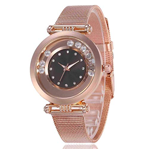 WMYATING Exquisito, Hermoso, decente, novedoso y único. Relojes de Pulsera Baixa Women's Watch Smoothie Diamond Alloy Mesh Cinturón Moda Reloj de Cuarzo de Moda Negro