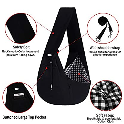 FDJASGY Small Pet Sling Carrier-Hands Free Reversible Pet Papoose Bag Tote Bag with a Pocket Safety Belt Dog Cat for Outdoor Travel Black 6