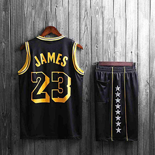 XSSC Shorts NBA Basketball Jersey NBA Basketball Uniform Anzug Herren New Jersey NBA-Ballanzug atmungsaktive Feuchtigkeit Sommerjacke Basketball Jersey Set Trainingsanzug Lakers Black No. 23-XXXXL