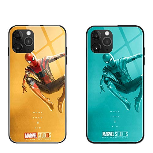 Spider Iron Man Deadpool Luminous Case for iPhone 7 8 Plus Xr 11 Pro Max SE2, Galaxy S10 N10 S20 Plus, Glowing Luxury Tempered Glass Cover Soft TPU Bumper Case (Spider Man 2, iPhone Xr)