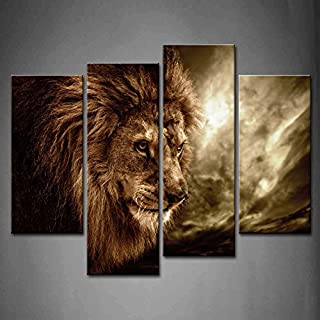 4 Panel Wall Art Brown Fierce Lion Against Stormy Sky Painting The Picture Print On Canvas Animal Pictures for Home Decor Decoration Gift Piece (Stretched by Wooden Frame,Ready to Hang)