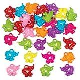 Baker Ross Dijes de Elefantes Que los niños Pueden Usar para Crear y Personalizar Pulseras y Collares - Kit de joyería para niños (Pack de 80).