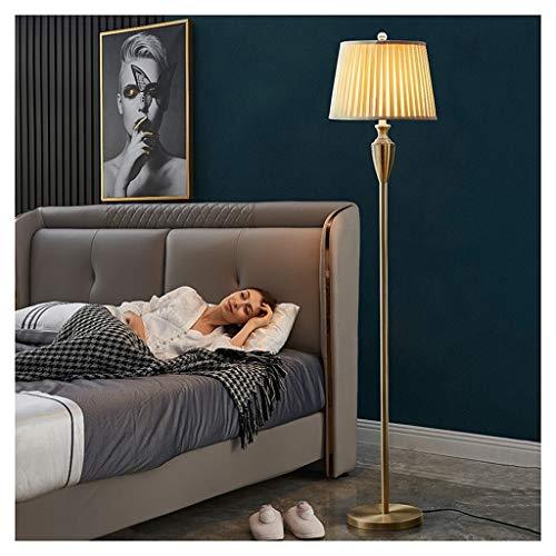 ZGP-LED Luces de piso Lámpara de pie de oro estadounidense pantalla de la tela de la sala dormitorio Estudio de cabecera vertical Lámpara de mesa moderna minimalista LED lámpara de lectura Nivel de en