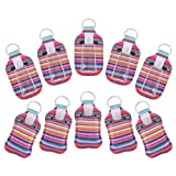 JETTINGBUY 10 Sets Empty Refillable Bottle with Bottle Covers Clear Travel Bottles Colorful Keychain Holders 30 ML Reusable Neoprene Bottles for Daily Life Travel Uses