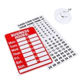 Business Hour Open Closed Sign – Bundle of Office Hours Sign Will Return Clock with Suction Cups for Door Window Businesses Stores Restaurants Bars Retail Barbershop Salon Shops (Business Hours)