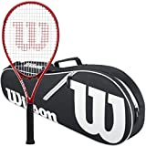 Wilson Federer Control 103 Tennis Racquet in Grip Size 4 3/8' Bundled with a Black Advantage II Tennis Bag (Incredible Feel and Control)