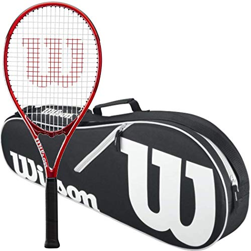 Wilson Federer Pro Staff Precision XL 110 Gloss Red Tennis Racquet in Grip Size 4 3/8