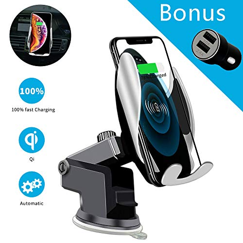 Qi Wireless Car Charger Mount Automatic Clamping SAUDIO Dashboard Air Vent Gravity Sensor Phone Holder Compatible with iPhone X/Xs MAX/XS/XR/X/8/8+,Samsung S10/S10+/S9/S9+/S8/S8+
