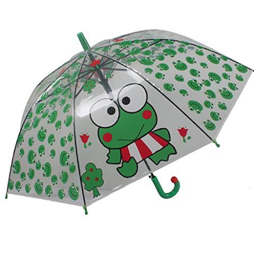 Stock klar Regenschirm für Kinder Mädchen und Jungen -Karikatur- Winddicht - Durchschauen -Transparentes Design- Süße Frosch Drucke