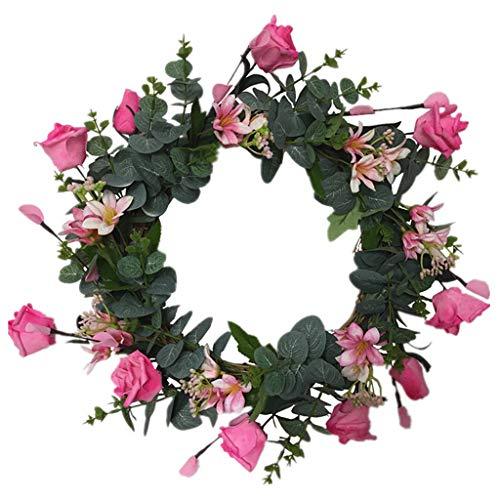 Cgration Künstliche Blumen Eukalyptus Rosenkranz Frühlingskranz Outdoor für Haustür Wand Fenster Party Hochzeit Dekor