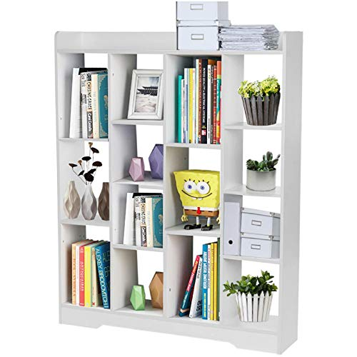 Hospitabler 14-Cube Bookcase, Modern Bookshelf Book Rack Display Shelf Storage Organizer Multi-Functional Furniture Display Cabinet for CDs, Records, Books, Home Office Decor