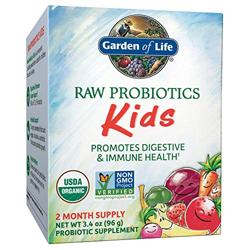 Garden of Life - RAW Probiotics Kids - Acidophilus and Bifidobacteria Organic Probiotic Supports Digestive Health and Immune System - Gluten and Soy-Free, Certified Organic - 3.4 oz (Shipped Cold)