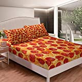 Pizza Fitted Sheet Pepperoni Be Print Bedding Set Kids Funny Bed Sheet Set for Boys Girls Room Decor Lightweight Delicious Pizza Theme Bed Cover Queen Size with 2 Pillow Case