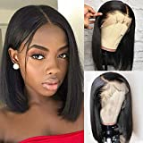 Ugrace Hair Short Straight Bob Wigs Human Hair 13x4 Lace Front Wigs For Black Women Pre Plucked Natural Hair Line 150% Density Lace Front Bob Wigs (14 inch bob wig Natural Color)