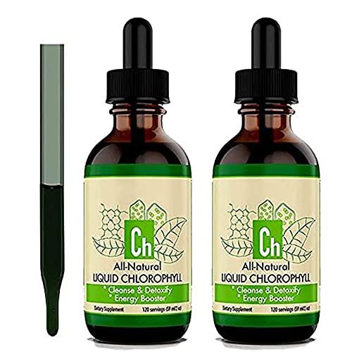 Gotas líquidas de clorofila, concentrado 100% natural, refuerzo de energía, ayudas para la digestión y el sistema inmunológico, desodorante interno (2 pack)