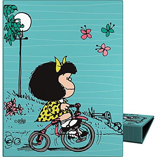 Mafalda 88202639. Carpeta de Anillas A5, 4 Anillas Redondas 20mm, Colección Mafalda Bici